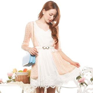 Elbow-Sleeve Open-Front Lace Long Cardigan 1035811907