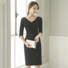 V-Neck Elbow-Sleeve Sheath Dress 1596