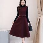 Set: Long-Sleeve Sweater + Sleeveless A-Line Dress 1596
