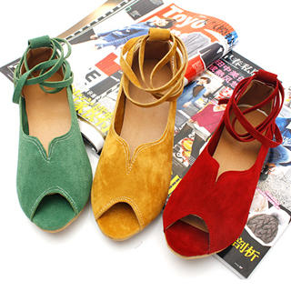 Buy KAWO Peep-Toe Ankle-Strap Flats 1022788009