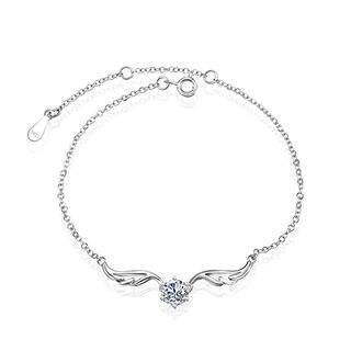 925 Sterling Silver Angel Wings Bracelet with White Cubic Zircon