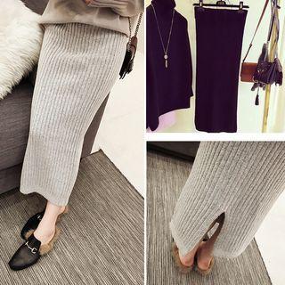 Plain Midi Ribbed Knit Skirt 1057689951
