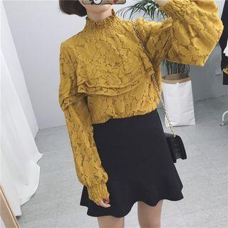 Ruffled Lace Long-Sleeve Top 1055168681