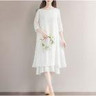 Elbow-Sleeve A-Line Dress 1596
