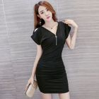 Zip Front V-Neck Bodycon Dress 1596