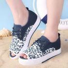 Peep-Toe Leopard-Print Platform Sneakers 1596