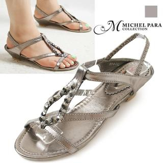 Buy MICHEL PARA COLLECTION Studded Slingback Wedge Sandals 1022976365