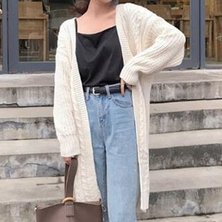 Rib Knit Long Cardigan 1062722793