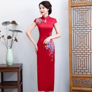 Image of Cap-Sleeve Floral Midi Satin Qipao