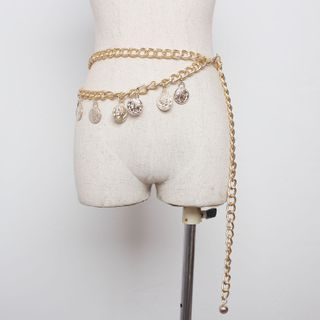 Image of Coin Dangle Chain Belt Gold - One Size