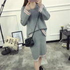 Set: Striped Trim Knit Top + Skirt 1596