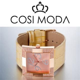 Stainless Steel Genuine Leather Strap Watch with Cubic Zirconia Beige - One Size