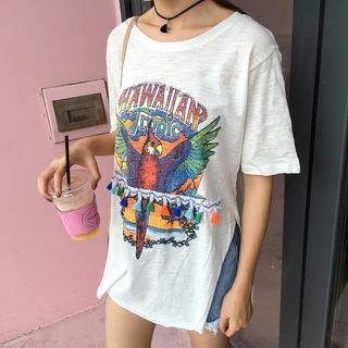 Printed Side Slit Short Sleeve T-Shirt 1053059916