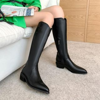 Block-heel Pointy Tall Boots
