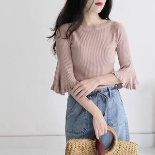 Elbow-Sleeve Ribbed Knit Top 1061587733