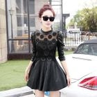 Long-Sleeve Lace Panel Faux-Leather Dress 1596