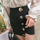 Metal-Button Mini Pencil Skirt 1596