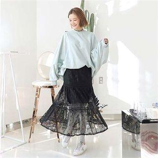 Band-Waist Lace-Overlay Long Skirt 1064739479