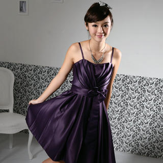 Pleated Sweetheart Party Dress Dark Purple - One Size