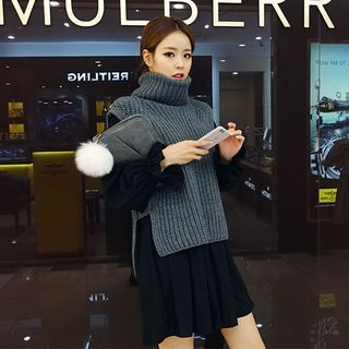 Turtle-Neck Sleeveless Wool Blend Knit Top 1047812610