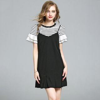 Set: Short-Sleeve Striped T-Shirt + Strappy A-line Dress 1060543060