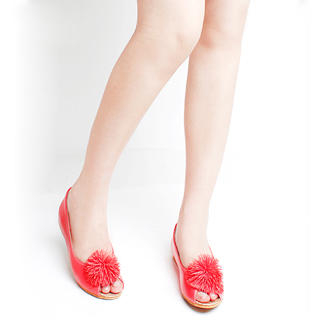 Buy KAWO Pompom-Accent Peep-Toe Flats 1022899715