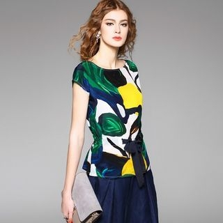 Cap-Sleeve Printed Silk Top 1058166035