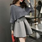 Set : Long-Sleeve Knit Top + Ruffle Long-Sleeve Dress 1596
