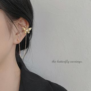 Image of 925 Sterling Silver Butterfly Chained Earring 1 Pairs - Silver Needle - Gold-plated - As Shown In Figure - One Size