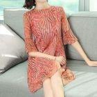 Printed Elbow Sleeve Chiffon Dress 1596
