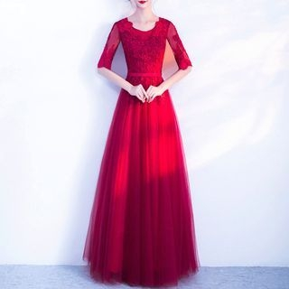 Elbow-Sleeve Lace Appliqu  A-Line Evening Gown 1063785888