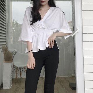 V-Neck Elbow-Sleeve T-Shirt 1065247369