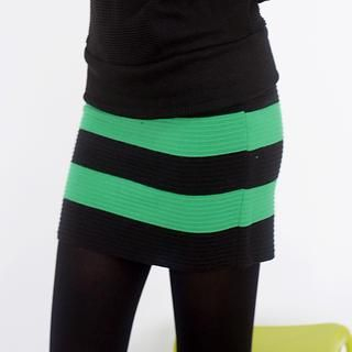 Striped Ribbed Knit Skirt 1036921026