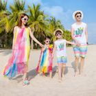 Family Matching Short-Sleeve T-Shirt / Shorts / Strappy A-Line Maxi Dress 1596