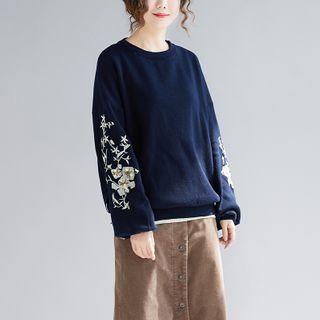 Embroider | Sapphire | Sweater | Flower | Dark | Blue | Size | One