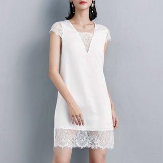 Image of Short-Sleeve Lace Paneled A-Line Mini Satin Dress
