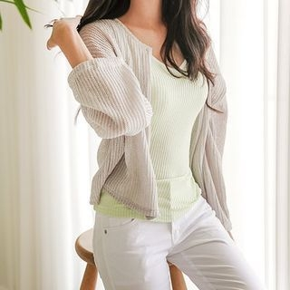 Buttoned Ribbed Cardigan 1060918657