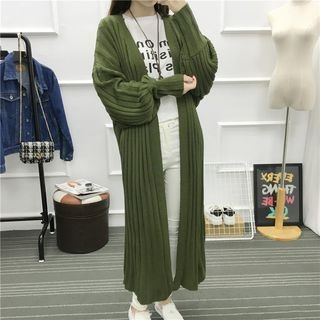 Ribbed Lantern Sleeve Long Cardigan 1053764351