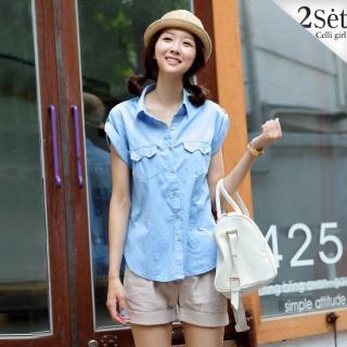 Buy Celli Girl Set: Roll-Up Sleeve Denim Shirt + Cuffed Hem Shorts 1022955682
