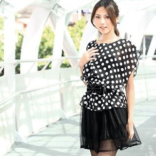 Buy 59th Street Mock-Two-Piece Polka Dot Tulle Dress Black – One Size 1022795438