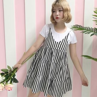 Set: Short-Sleeve T-Shirt + Striped Strappy A-Line Dress 1060341991