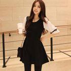Contrast-Sleeve A-Line Dress 1596