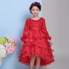 Kids Lace Trim Layered Dip Back Long Sleeve Dress 1596