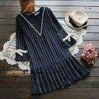 Elbow-Sleeve Striped Dress 1596