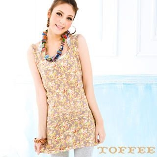 Floral Long Tank Top Yellow - Size One