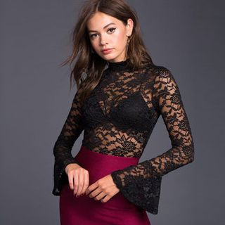Long Sleeve Lace Bodysuit Top