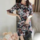 Ruffled Floral Mini Dress 1596