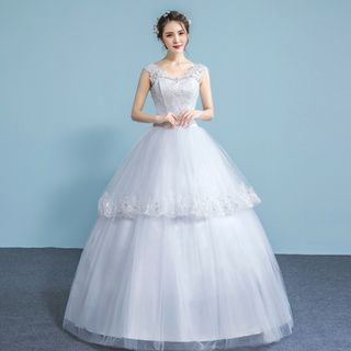 Image of Embellished Lace Sleeveless Wedding Ball Gown