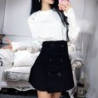 Plain Long Sleeve Blouse / Double Breasted A-Line Skirt 1596
