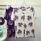 Printed V-Neck Short-Sleeve T-Shirt 1596